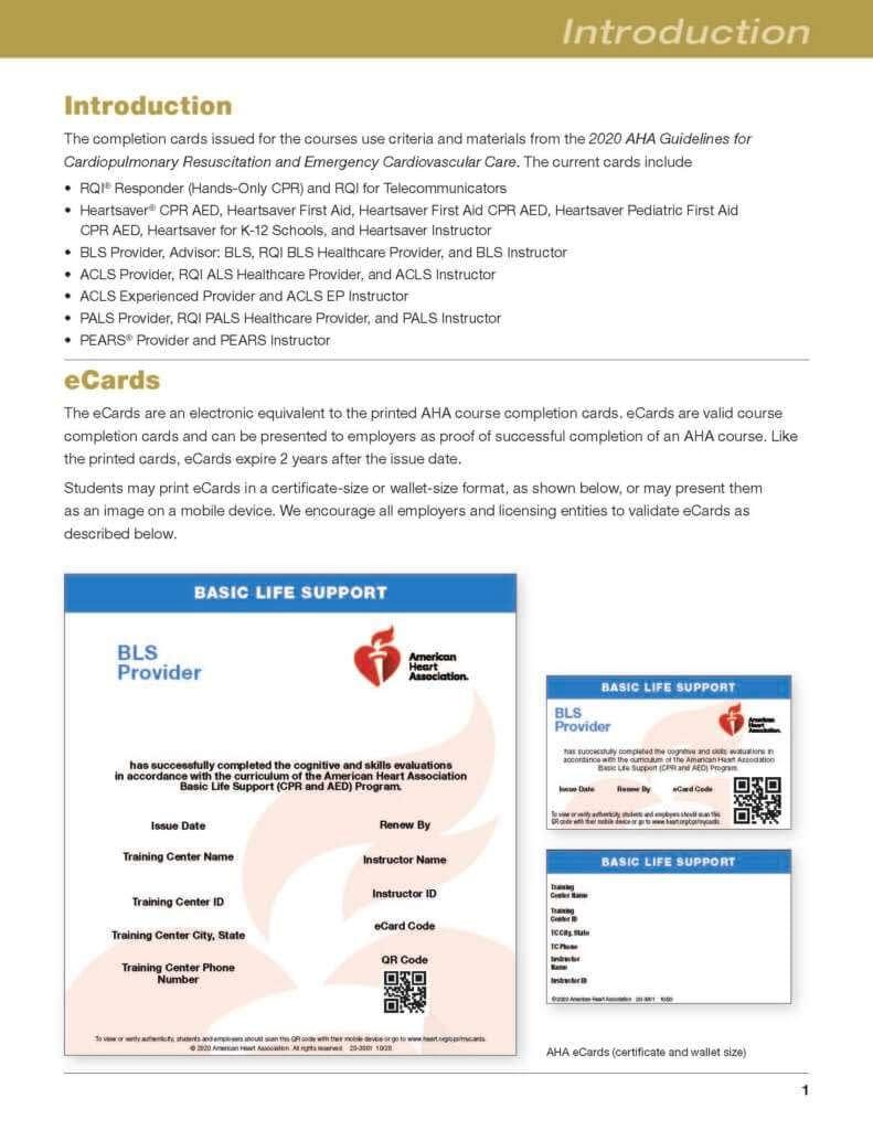 AHA eCard BLS Certification
